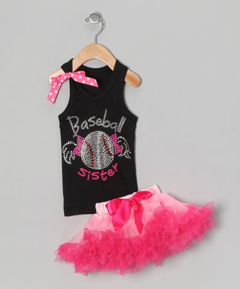 Black 'Baseball' Tank & Pettiskirt - Infant, Toddler & Girls