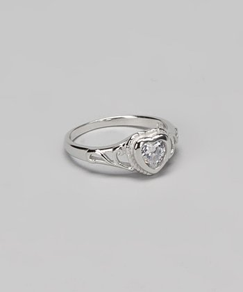 Cubic Zirconia & Sterling Silver Sweetheart Baby Ring