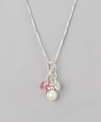 Pink Crystal October Birthstone Necklace