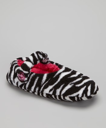 Black Zebra Mary Jane Slipper