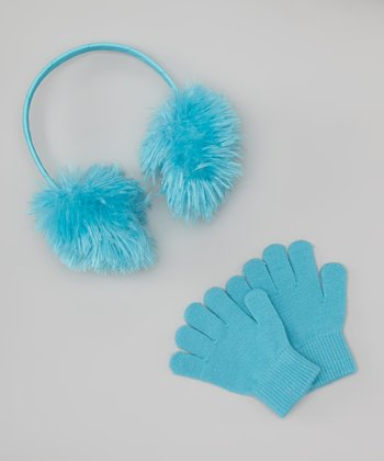 Turquoise Teddy Fur Earmuffs & Gloves