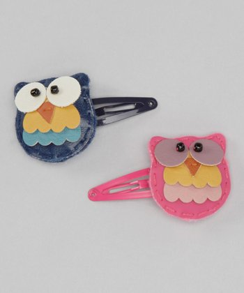 Pink & Navy Tree Owl Snap Clip Set