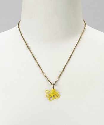 Yellow Octopus Pendant Necklace