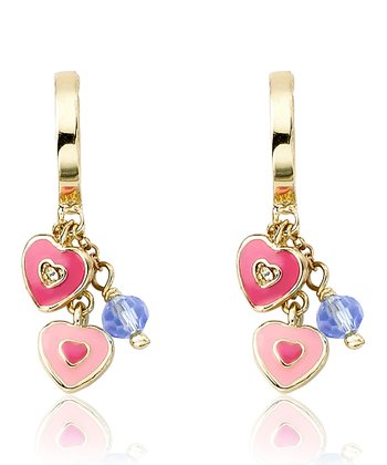 Pink & Gold Heart Cluster Earrings