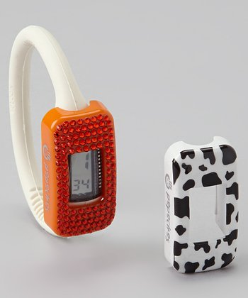 White Watch & Orange Swarovski/Cow Cover Set
