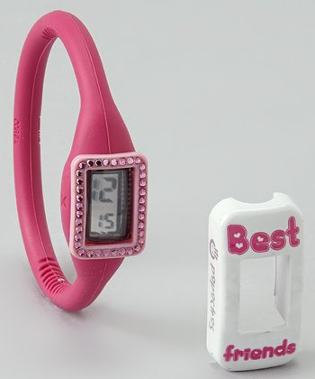 Fuchsia Watch & Pink Swarovski/'Best Friends' Cover Set