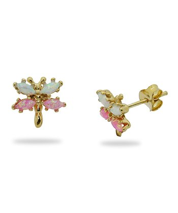 Gold-Plated Silver & Pink Opal Butterfly Stud Earrings