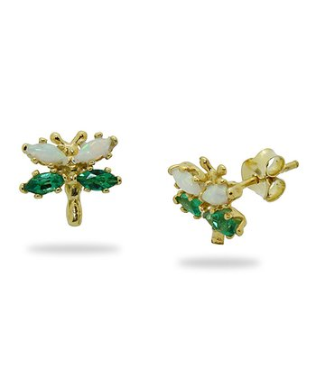 Gold-Plated Silver & Emerald Dragonfly Stud Earrings