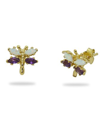 Gold-Plated Silver & Amethyst Dragonfly Stud Earrings