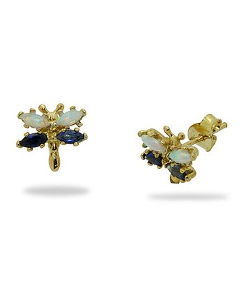 Gold-Plated Silver & Sapphire Stud Earrings