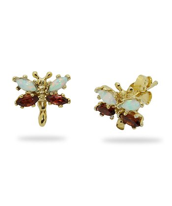 Gold-Plated Silver & Garnet Dragonfly Stud Earrings