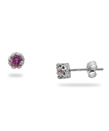 Sterling Silver & Pink Sapphire Stud Earrings