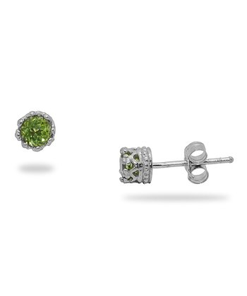 Sterling Silver & Peridot Stud Earrings