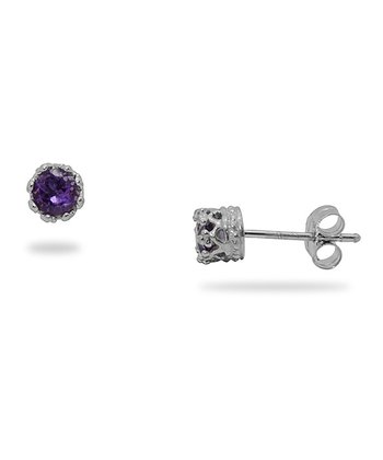 Sterling Silver & Amethyst Stud Earrings