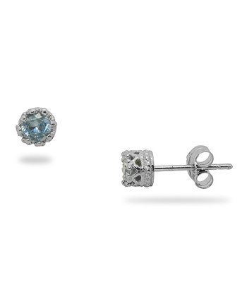 Sterling Silver & Aquamarine Stud Earrings