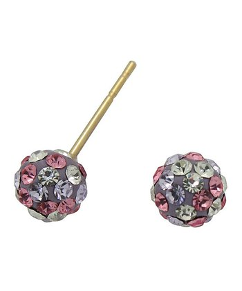 Gold & Rainbow Crystal Stud Earrings