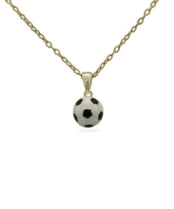 Gold Soccer Ball Pendant Necklace