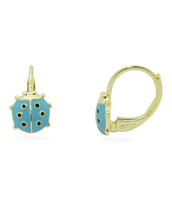 Gold & Blue Ladybug Leverback Earrings