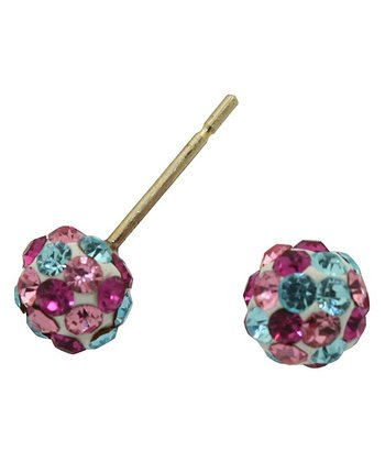 Pink & Aqua Crystal & Gold Ball Stud Earrings