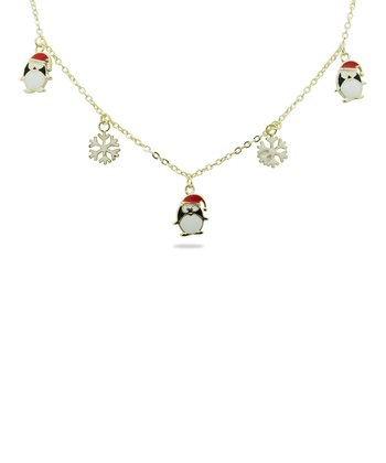 Gold & White Snowflake Penguin Charm Necklace
