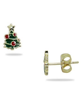 Gold & Green Tree Earrings