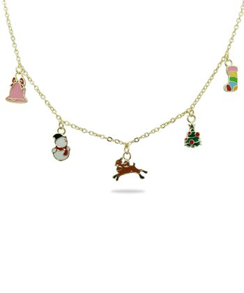 Gold & Green Christmas Charm Necklace