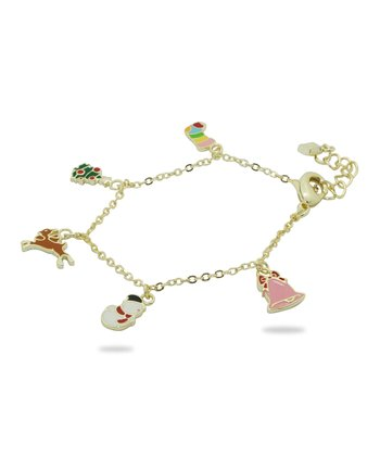 Gold & Green Christmas Charm Bracelet
