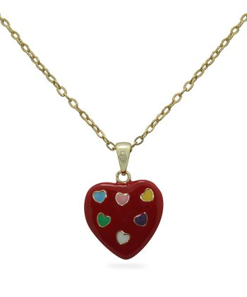 Gold & Red Heart Pendant Necklace