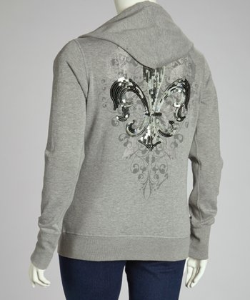 Heather Grey Sequin Zip-Up Hoodie - Plus