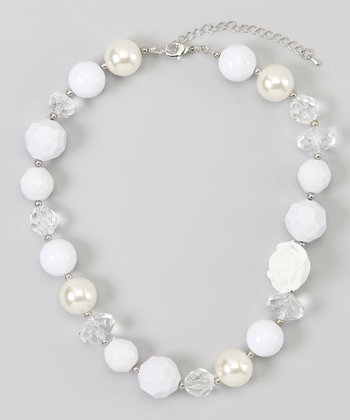White & Pearl Beaded Necklace
