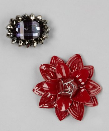 Black Elegance & Red Flower Ornament Set