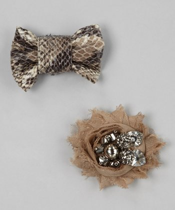 Brown Snakeskin Bow & Tan Flower Ornament Set