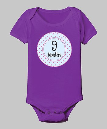 Purple '9 Months' Bodysuit
