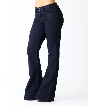 Midnight Five-Pocket Mid-Rise Flare Jeans
