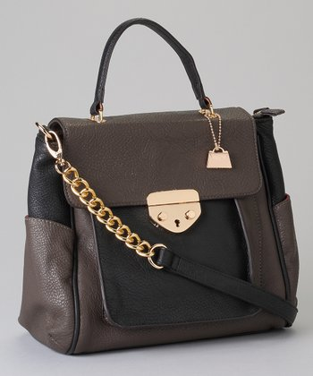 Black & Gray Color Block Flap Shoulder Bag