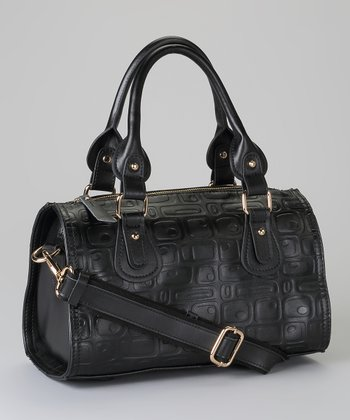 Black Embossed Satchel