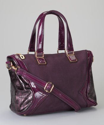 Purple Crocodile Embossed Satchel
