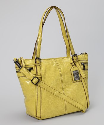 Chartreuse Mercer Crocodile Embossed Tote