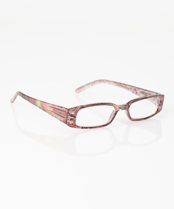 Pink & Mint Paisley Reader Glasses & Case