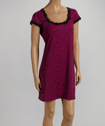 Berry Rose Cap-Sleeve Chemise - Women