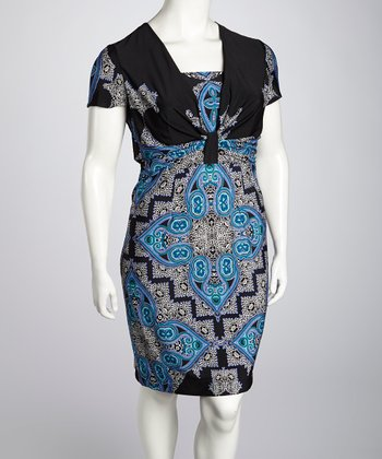 Black & Blue Dress - Plus