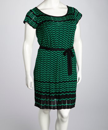 Emerald & Black Knit Zigzag Dress - Plus