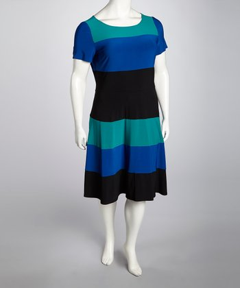 Teal & Black Color Block Dress - Plus