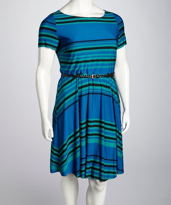 Blue & Teal Stripe Belted Dress - Plus