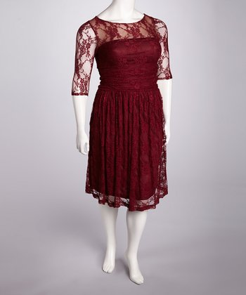 Raspberry Luna Lace Dress - Plus