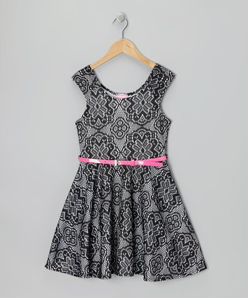 Black & White Crocheted Skater Dress