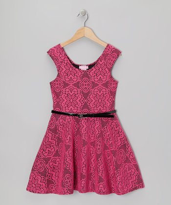 Fuchsia & Black Crocheted Skater Dress