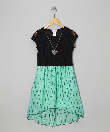 Black & Mint Chiffon Hi-Low Dress