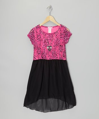 Fuchsia & Black Chiffon Hi-Low Dress