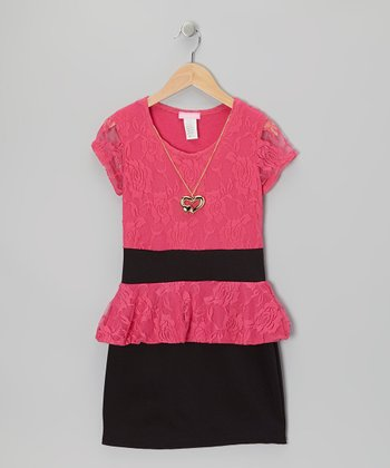 Fuchsia & Black Lace Peplum Dress